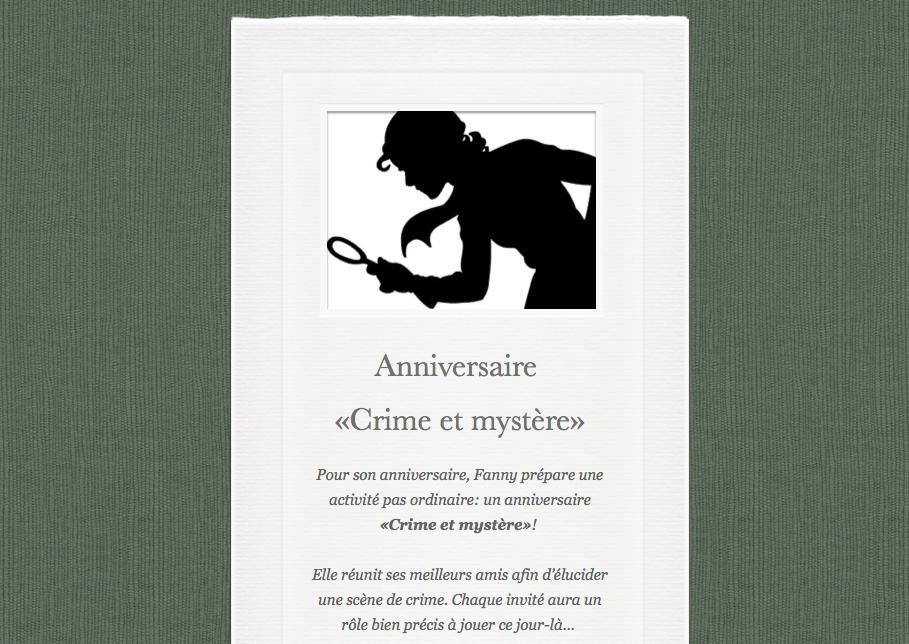 Favori Anniversaire «Crime et mystère»: scénario pour une fête d'enfant  IT37