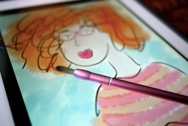 Le pinceau Nomad FleX et une de mes premières «oeuvres» avec l'application Procreate pour iOS.
