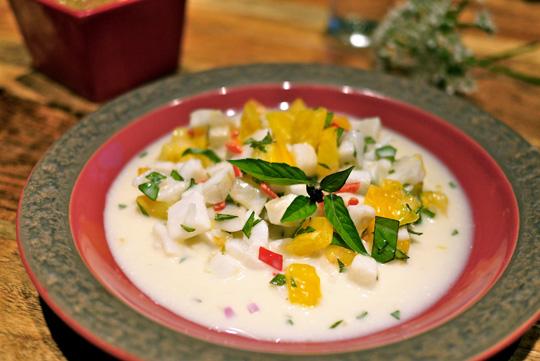 Ceviche de sole au lait de coco pimenté
