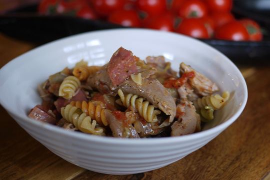 Rotini en sauce à la brontodinde et à la rosette de Lyon