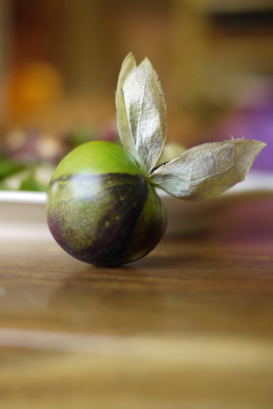 Salade de feuilles et de fruits aux lardons de canard