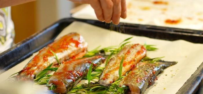 Truites à l'estragon grillées au four